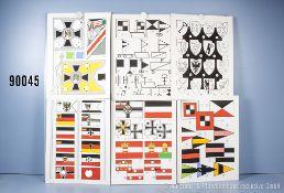 Konv. 10 originale farbige und schwarz/weiß Zeichnungen u.a. deutsche Kriegsflaggen, ...
