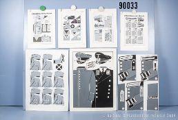 Konv. 16 originale schwarz/weiß Zeichnungen zum Thema Uniformierung und Effekten der ...