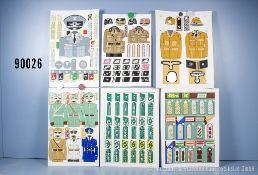 Konv. 14 originale farbige Zeichnungen zum Thema Uniformierung und Effekten 3. Reich, u. ...