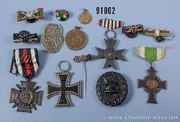Konv. überwiegend Orden und Abzeichen 1. WK, EK 2 1914, VWA in Schwarz, EKF, Preußen ...