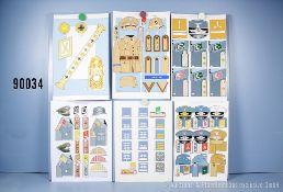 Konv. 13 originale farbige Zeichnungen zum Thema Uniformierung und Effekten der ...