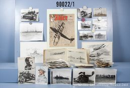 sehr umfangreiches Konvolut, Fotos 2. WK über Heer, Luftwaffe und Marine, Titelbilder ...