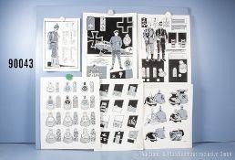 Konv. 16 originale schwarz/weiß Zeichnungen zum Thema Uniformierung und Effekten 1. WK, ...