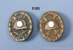 Konv. VWA in Gold, Buntmetallausf. und VWA in Schwarz, guter Zustand mit teilweise ...