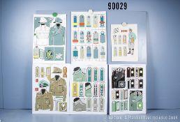 Konv. 10 originale farbige Zeichnungen zum Thema Uniformierung und Effekten der ...