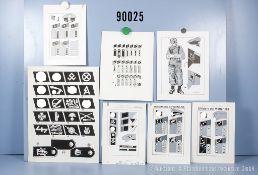 Konv. 7 originale schwarz/weiß Zeichnungen zum Thema Uniformierung und Effekten der ...