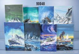 """Konv. 8 originale gemalte Titelbilder auf Karton der Romanheftserie """"SOS-Schicksale ..."""