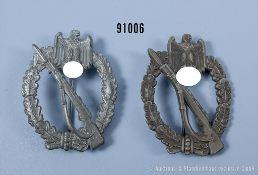 Konv. 2 Infanterie-Sturmabzeichen in Bronze und Silber, jeweils Zinkausf., guter Zustand ...