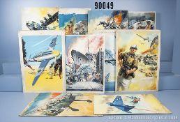 Konv. 10 originale auf Karton gemalte Titelbilder der Landser Kleinbände NR. 46, 51, 76, ...