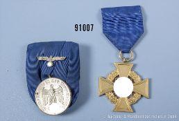 Konv. Dienstauszeichnung der Wehrmacht für 4 Jahre, an der Einzelspange und ...