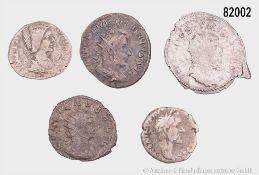 Römische Kaiserzeit, Konv. 2 Denare und 3 Antoniniane, dabei Antoninus Pius, Julia Domna ...