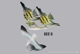 Konv. 2 Rosenthal Porzellan Tierfiguren, Kunstabteilung, Fischgruppe 2 Scalare, ...