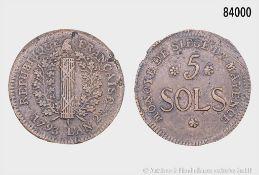 Mainz, unter französischer Besatzung (1792-1793), 5 Sols 1793, 32 mm, Schön 3, gutes ...