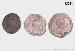 Römische Kaiserzeit, Konv. Salonina, 2 Antoniniane, davon 1 x mit Rs. Antilope, und ...