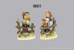 """Konv. 2 Goebel Porzellan Hummel Figuren, 426 3/0 """"Horch"""" und 427 3/0 """"Wo bist Du?"""", je ..."""