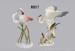Konv. Porzellan Tierfiguren, dabei Rosenthal Flamigo, Modellnummer 1522, mit hohen ...