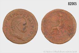 Römische Kaiserzeit, Vespasian (69-79), Dupondius, 75, Rom, Rs. Vesta nach links ...