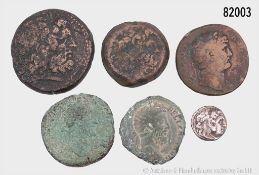 Griechen und Römer, Konv. 6 Münzen, dabei Drachme Alexander des Großen, Großbronze ...