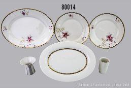 Konv. 6 Teile Rosenthal Porzellan, dabei 2 tiefe Teller, D 25 cm und 1 Fleischplatte L ...