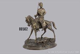 Bronze-Skulptur, nordafrikanischer Jäger, Antoine Louis Barye (1796-1875), um 1860, ...