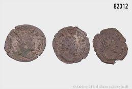 Römische Kaiserzeit, Konv. Postumus, 2 Antoniniane, davon 1 x mit Rs. Hercules, und ...