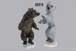 Konv. 2 Rosenthal Porzellan Tierfiguren, dabei Braunbär stehend auf 4-eckigem Sockel, ...