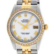 Rolex Mens 2 Tone Mother Of Pearl Diamond 36MM Datejust Wristwatch