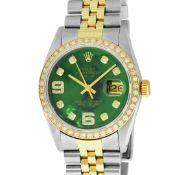Rolex 2 Tone YG/SS Green Diamond Oyster Perpetual Datejust Wristwatch 36MM