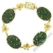 Vintage 14kt Yellow Gold Carved Oval Jade Bird and Etched Flower Link Bracelet