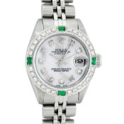Rolex Ladies Stainless Steel Mother Of Pearl Diamond 26MM Datejust Wristwatch