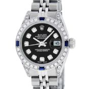 Rolex Ladies Stainless Steel Black Diamond Lugs & Sapphire Datejust 26MM