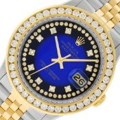 Rolex Mens 2 Tone Blue Vignette String VS 3 ctw Channel Set Diamond Datejust 36M