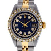 Rolex Ladies 2 Tone Quickset 18K Blue String Diamond Datejust Wristwatch