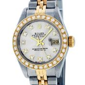 Rolex Ladies 2 Tone Silver VS Diamond Datejust 26MM Oyster Perpetual Wristwatch