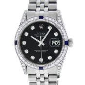 Rolex Mens Stainless Steel Diamond Lugs Black Diamond & Sapphire Datejust Wristw