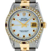 Rolex Mens 2 Tone Lugs MOP Ruby & Diamond 36MM Datejust