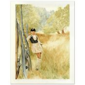 """William Nelson, """"Girl in Meadow"""" Limited Edition Serigraph, Numbered and Hand Si"""