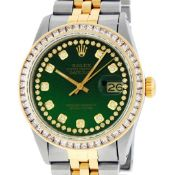 Rolex Mens 2 Tone Green Vignette Princess Cut Diamond Datejust Wristwatch