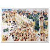 "Shmuel Katz (1926-2010), ""Jerusalem"" Hand Signed Limited Edition Serigraph with"