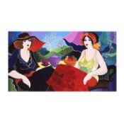"""Patricia Govezensky, """"Rest in The Village"""" Hand Signed Limited Edition Giclee on"""