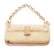 Fendi Gold Charm Glitter Shoulde Bag