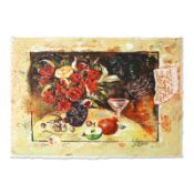 """Sergey Kovrigo, """"Wine and Roses"""" Hand Signed Limited Edition Serigraph with Lett"""
