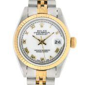 Rolex Ladies 2 Tone White Roman 26MM Datejust Wristwatch