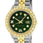 Rolex Mens 2 Tone Green VS 4ctw Beadset Diamond Datejust Wristwatch with Rolex B