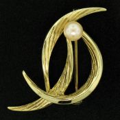14k Solid Yellow Gold German 5.9mm Round Cultured Pearl Textured Bird Brooch Pin