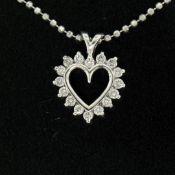 "14k White Gold 0.40ctw Round Brilliant Diamond Open Heart Pendant 18"" Bead Chain"
