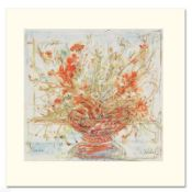 """""""Summer's End"""" Limited Edition Serigraph by Edna Hibel (1917-2014), Numbered and"""