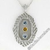 18kt White Gold 2.15ctw Aquamarine, Citrine, & Diamond Open Milgrain Pendant Nec