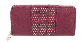 Michael Kors Purple Studded Leather Jet Set Continental Zippy Wallet