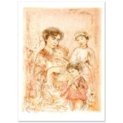 """""""Lotte and Her Children"""" Limited Edition Lithograph (27"""" x 37.5"""") by Edna Hibel"""